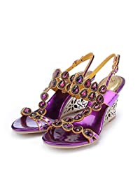 Monie Women's Bling Crystal Everning Dress Sandals Handmade Strappy Wedges with Unique Heel