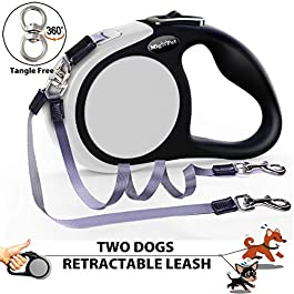 Double Retractable Dog Leash for Two Dogs Up to 50 lbs Per Dog 16 ft Walking Small Medium Dog Leash – Coupler Dog Leashes for Small Medium Dogs – One Locked System, Non Slip Grip, Tangle Free