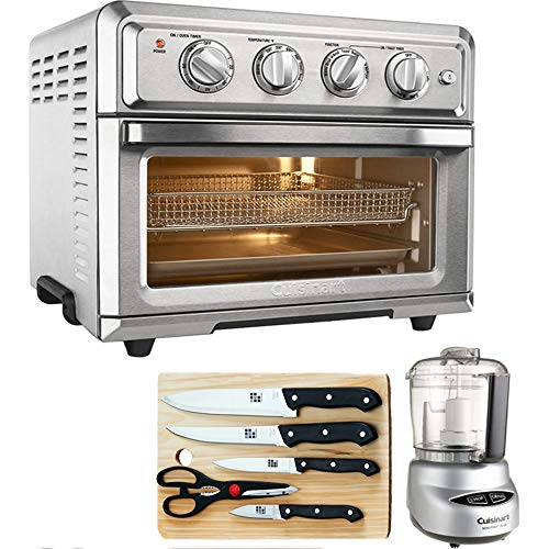 Cuisinart TOA-60 Convection Toaster Oven Air Fryer w Light Silver with Ultimate Kitchen Bundle Includes Mini Food Processor, 5-Piece Knife Set Cutting Board