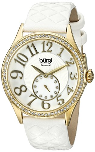 Burgi Women's BUR141WTG  Round White Mother of Pearl and Silver Dial with Embossed Swirled Center Small Seconds Quartz Gold Tone Strap Watch