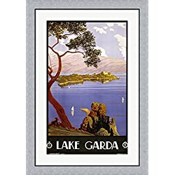 Lake Garda Travel Poster Framed Art Print Wall Picture, Flat Silver Frame, 25 x 36 inches
