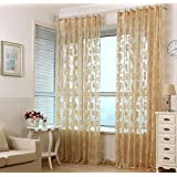 Polyester yarn Jacquard Half shading Living room bedroom The finished product Punch Window Curtains 1 Panel , beige , 300*270cm
