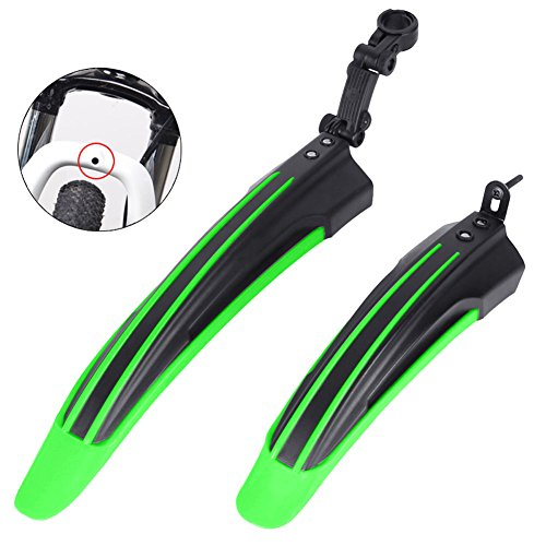 Vtsp 084 Bike Mudguard Bicycle Fender Soft Rubber Sturdy And Durable Front & Rear Mud Guard Set With Fast Demolition For MTB Ebike Rainy Day Cycling Bicycle Equipment Accessories (green)