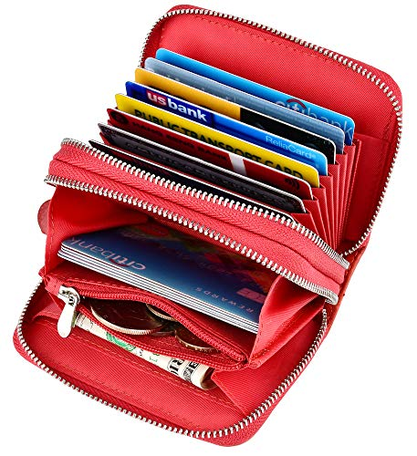 Accordion Wallet RFID Leather Card Wallet for Women Credit Card Holder (Waxed Oil Leather Red)