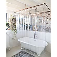 """USA Made + PEVA Shower Curtain Liner - PVC Free, Clear, Durable 9 Gauge, Bottom Magnets, 72"""" X 72"""""""