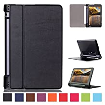 Lenovo Yoga Tab 3 8.0-inch Case,Lenovo Tab 3 8 Case,Leather Stand Case Folio Cover Case for Lenovo Tablet 3 8-Inch Tablet with Dual Auto Sleep/Wake Feature-Black