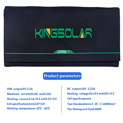 Solar Charger 40W Portable Solar Panel Foldable High Efficiency 5V USB 18V DC Dual Output Charger for Laptop Tablet GPS Cell Phone by KINGSOLAR™ (Image #5)