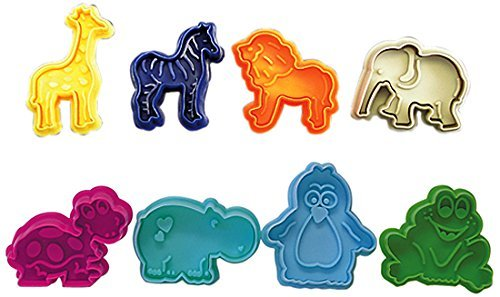 R&M International 0434 Party Animals Pastry/Cookie/Fondant Stamper Set, Assorted Designs, 8-Piece Set
