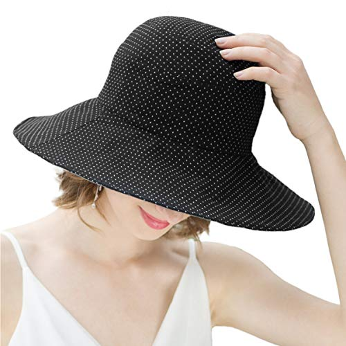SOMALER Floopy Sun Hats for Women Summer Wide Brim UPF Beach Hat Packable Roll-up Cotton Bucket ()