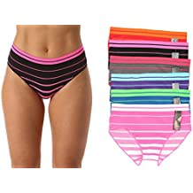 Just Intimates Seamless Striped Panties With Ribbed Detail (6 Pack)