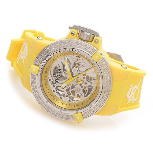 Invicta Womens Subaqua Noma III Anatomic Diamond Accented Seagull Mechanical Yellow Watch 16765