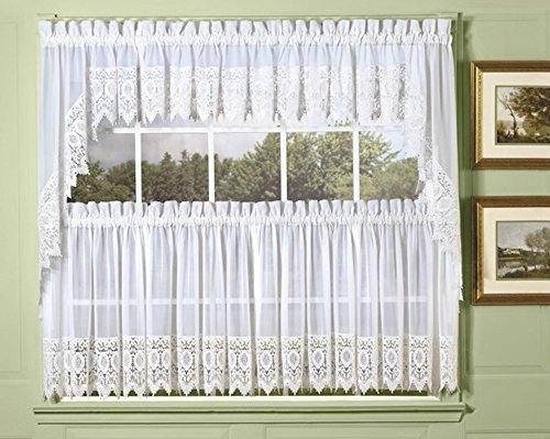 - Diana Macrame Lace Tailored Swag Valance, White 72W x 38L