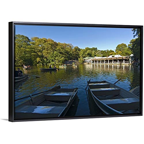 (New York, New York City, Central Park, Loeb Boathouse Black Floating Frame Canvas Art, 38