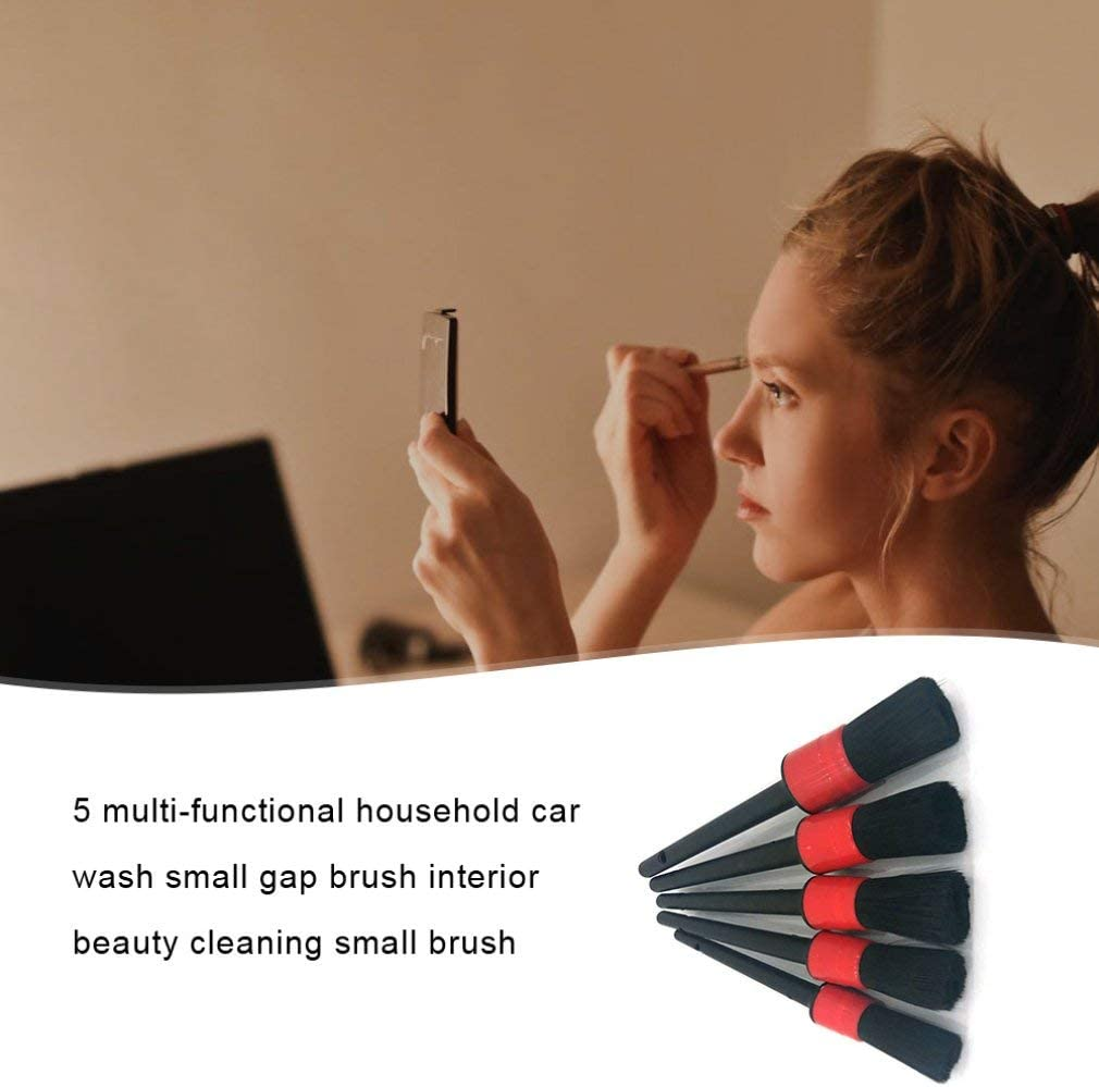 Car Cleaning Tool 5PCS Natural Boar Hair Car Detailing Brushes Set For Car Interior Gap Rims Dashboard Wheel Air Vent Trim