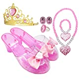 Princess Accessory Dress up Set,Shoes Necklace and Tiara Set,Fashion Beauty Set for Girls (Pink)