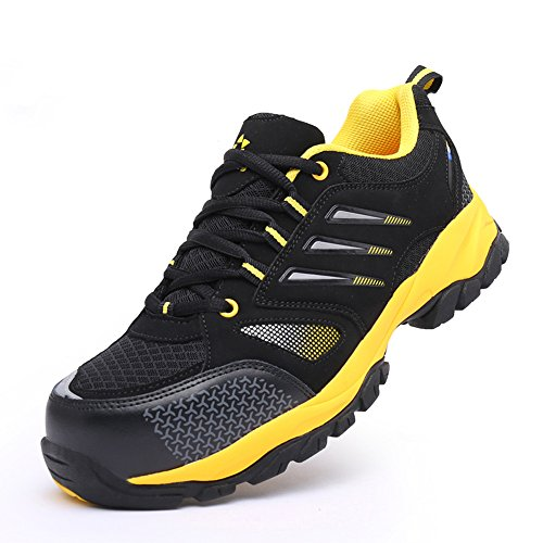 unisex steel toe work shoes industrial&construction shoes puncture proof safety shoes Black Yellow free shipping best place for sale best seller cheap price ZIZheq