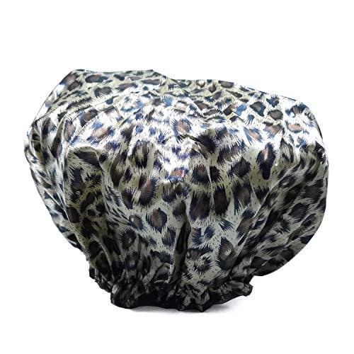 r Women,Quanchen Waterproof Bath Cap Adult Floral Leopard Pattern shower Hats (Tiger Skin Pattern) ()