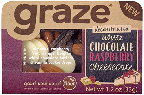 9ct Box (Graze White Chocolate Raspberry Cheesecake Mix with Almonds, Raspberry Fruit Strings, White Chocolate Buttons and Vanilla Cookie Drops, 1.2 Ounce Box, 9 Pack)