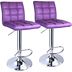 Leopard Square Back Adjustable Bar Stools,PU Leather Padded with Back,Set of 2,Purple