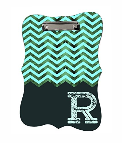 Aqua Mesh Chevron - Rosie Parker Inc. TM - CUSTOM Benelux Shaped 2-Sided Hardboard Clipboard - Customize Now! - Parker Mesh