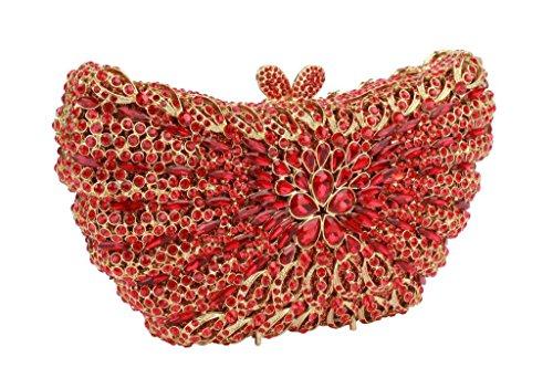 Yilongsheng Ladies Glitter soirée Sacs à main avec Shiny Cristal (Rouge)