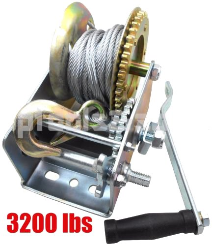 (3200lbs Dual Gear Hand Winch Hand Crank Manual Boat ATV RV Trailer 32ft Cable)