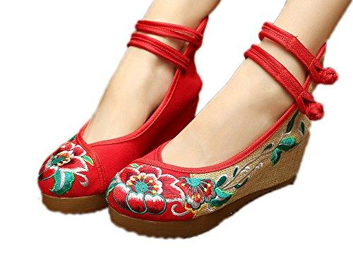 AvaCostume Women's Embroidery Floral Strappy Round Toe Platform Wedges Cheongsam 41 (Toe Canvas Platform Espadrille Wedge)