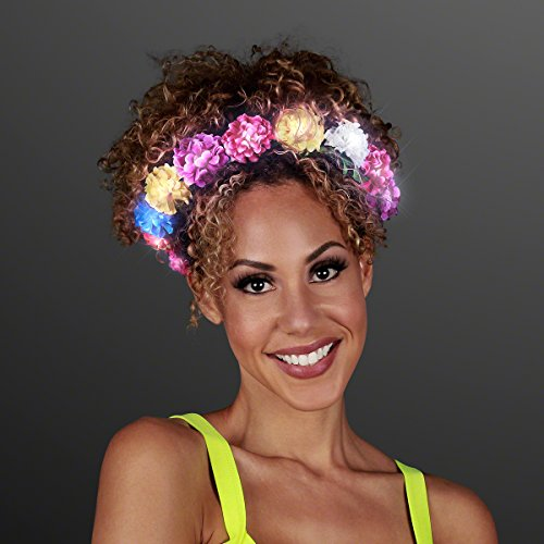 Light Up Rainbow Floral Wreath Flower Crown Headband with White LED Lights]()
