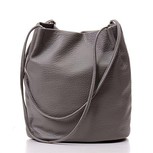 YOUNA Womens Classic PU Leather Bucket Tote Top-handle Handbag Shoulder Purse Gray