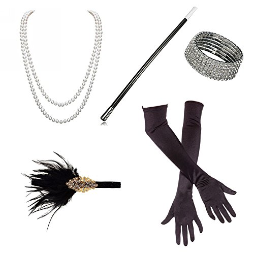 Flapper Costumes Kit (1920s Accessories Roaring 20's Flapper Costume for Women Headband Long Gloves Pearl Necklace Cigarette Holder (M1))