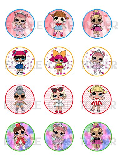 Price comparison product image Surprise Dolls Edible Cupcake Toppers (12 Images) Cake Image Icing Sugar Sheet Edible Cake Images