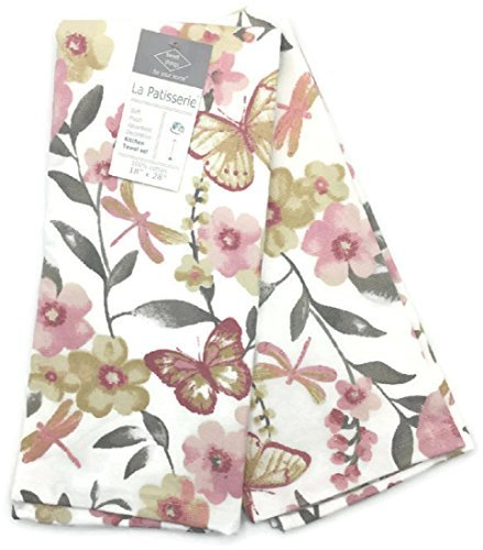 ... La Patisserie Butterfly Dragonfly Floral Kitchen Towels   Set Of 2