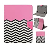 Tsmine Le Pan Mini 8-Inch Tablet Flip Hybrid Wave Case - Universal Protective Lightweight Premium Fashion Hybrid Pink Waves Printed PU Leather Case Cover, Pink Waves