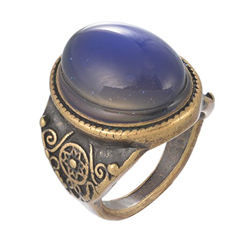 MJartoria Oval Pattern Engraved Retro Style Antique Bronze Changing Emotion Feeling Mood Ring Size 8