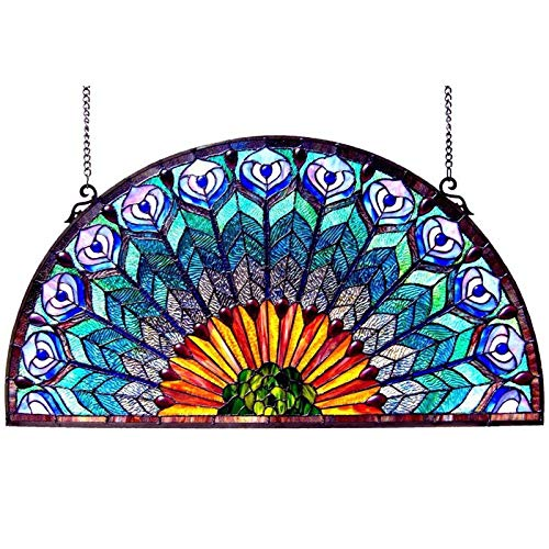 Peacock Stained Glass Panel - Chloe Peacock Design Half Round Stained Glass Window Panel