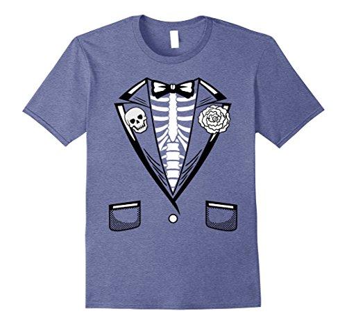 Mens Halloween Costume Funny Skeleton Tuxedo T-Shirt 2XL Heather Blue