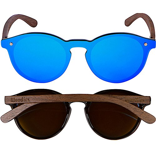 WOODIES Walnut Wood Foster Style Sunglasses with Flat Blue Mirror Polarized Lens by Woodies (Image #4)