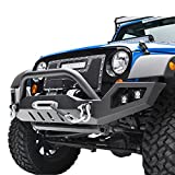 E-Autogrilles 07-17 Jeep Wrangler JK Full Width Front Bumper with LED Lights & 2xD-Ring & Winch Plate (51-0378)