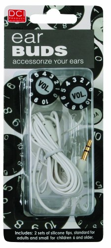 DCI 21565 Volume Knob Earbuds - Wired Headsets - Retail Packaging - Black/White