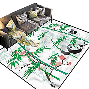 Image of Bamboo,Indoor Doormat Front Door Mat,Chinese Elements Panda Bear Multicolor & Anti-Skid,6 x 9 feet Home and Kitchen