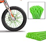 XX eCommerce Motorcycle Motorbike 72 Pcs Bike Wheel Spoke Protector Wraps Rims Skins Trim Cover Pipe For Motocross Bicycle Dirt Pit Cool Accessories 9 Colors (Green)
