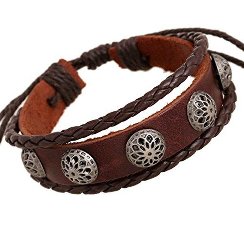 Gnzoe Jewelry, Men/Womens Leather Bracelet Bead Bangle Cuff Beaded Woven Vintage,Brown