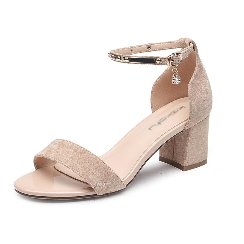 Damenschuhe Sandalen Frauen Sommer Wildleder Retro Square Head  Knopf-Schnalle Fashion Rough Heel High Heels e5c10e5914