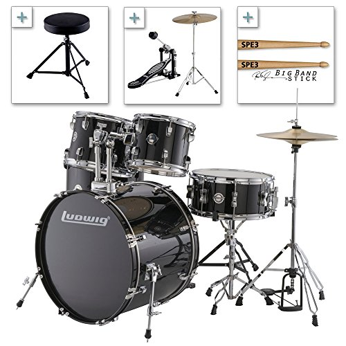 Ludwig Accent Drive Series LC175 Complete Drum Package with Cymbals, Hardware, Drum Throne, Chain-drive Pedal and Sticks (Black bundle)