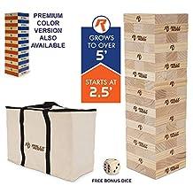 """Rally & Roar """"Toppling Tower"""" – Juego de madera gigante – 0.76 m de alto, construye más de 1.52 m, versiones de Color Premium o clásica madera disponibles – para adultos, niños, familia, bloques para apilar, con bolsa"""