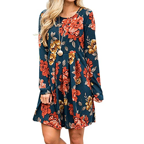 aihihe Womens Long Sleeve Crew Neck Midi Dress Floral Print Casual Party Beach Night Out Dress(Dark Blue,M) -