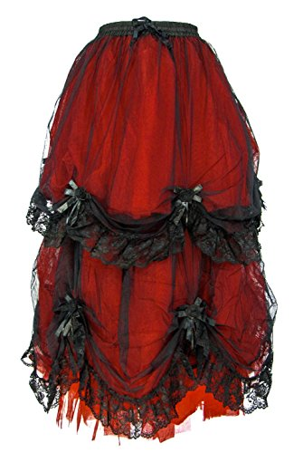 Dark Star Plus Size Long Black Red Satin Roses Gothic Medieval Fairytale Skirt M-2X by Darkstar