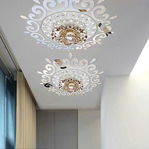 天井のミラーの壁のステッカー、天井のシャンデリア照明、装飾的なミラーフレームのステッカー、70x70センチメートルのDIYミラーの壁のステッカー (Silver) [並行輸入品]