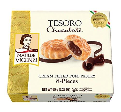 (Matilde Vicenzi, Tesoro Chocolate, Cream Filled Puff Pastry, 2.29 oz, Pack of 6)
