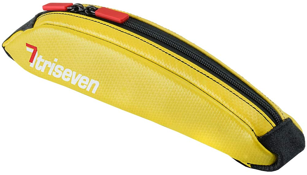 TriSeven Aero 10 Carbon Cycling Frame Bag - Lightweight Storage for Triathlons & MTB| Holds 6 Gels, Nutrition, Pump, Keys, Tools and More! (Yellow)
